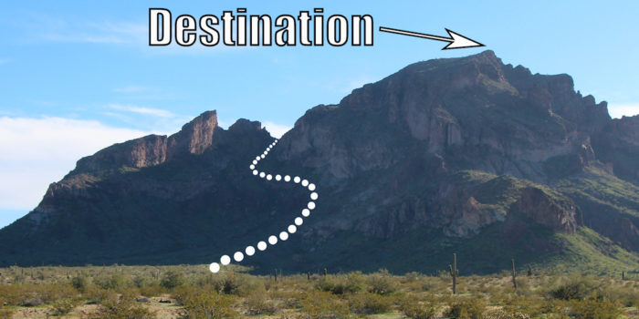 Outline of the first part of the trail leading to the peak of Saddle Mountain near Phoenix Arizona