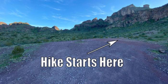 Beginning of the Saddle Mountain Peak Hike in Tenopah Arizona near Phoenix.