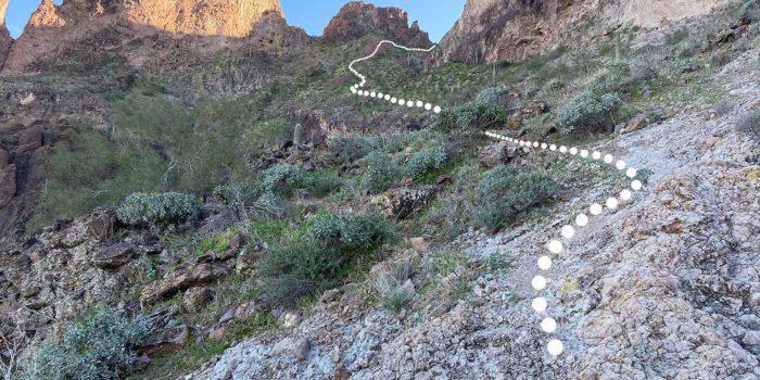 Steep part of the Saddle Mountain Peak hike near Saddle Mountain BLM Camping Area.