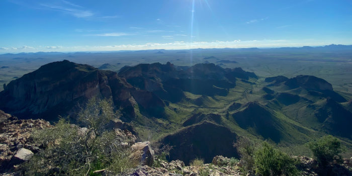 View from the first high point on the Saddle Mountain Peak Trail in Arizona.