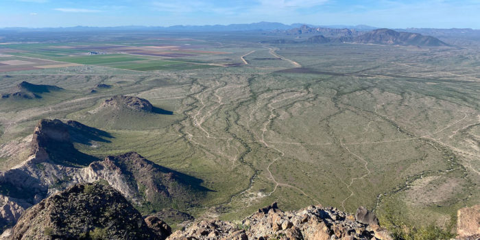 View of the free camping area from the peak of Saddle Mountain in Arizona.