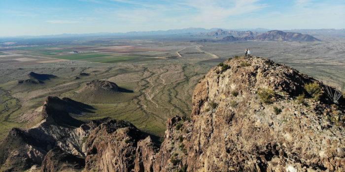 Drone picture of us standing on the peak of Saddle Mountain near Phoenix Arizona.