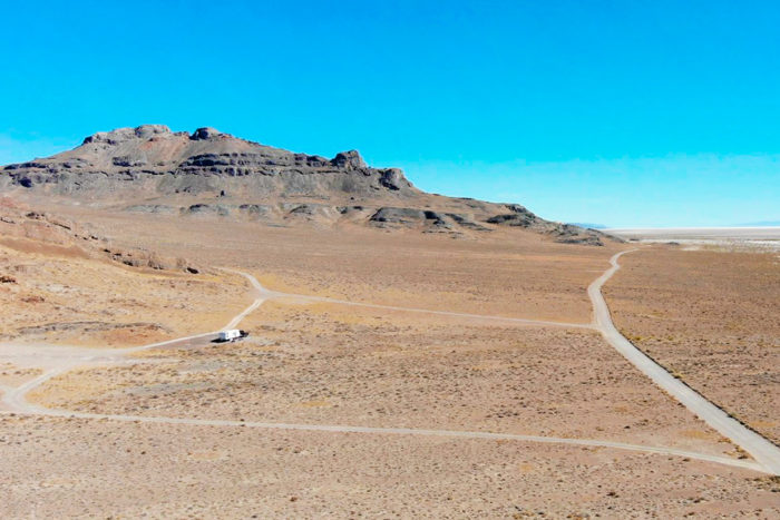 Roads leading to other campsites north of our spot on the Bonneville Salt Flats/Silver Island Mountain's BLM