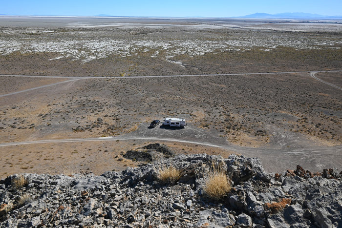Our campsite at the foot of the Silver Island Mountain's near the Bonneville Salt Flats Utah.