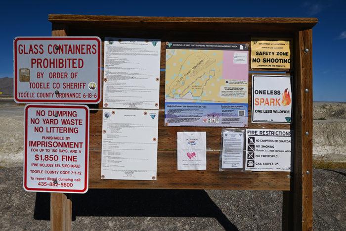 Bonneville Salt Flats & Silver Island Moutain's BLM Camping Sign