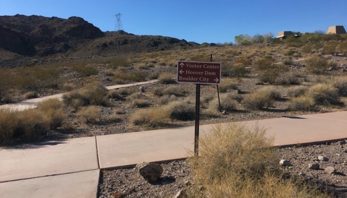 Sign at the start of the Historic Railroad Hike Trail near Hoover Dam in Nevada.
