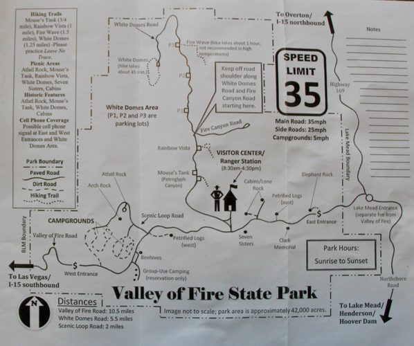 Map of Valley of Fire State Park in Nevada.