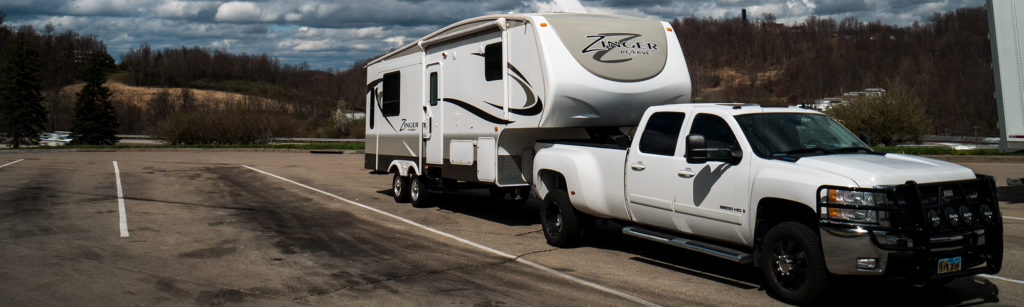 truck hitched to a 5th wheel RV