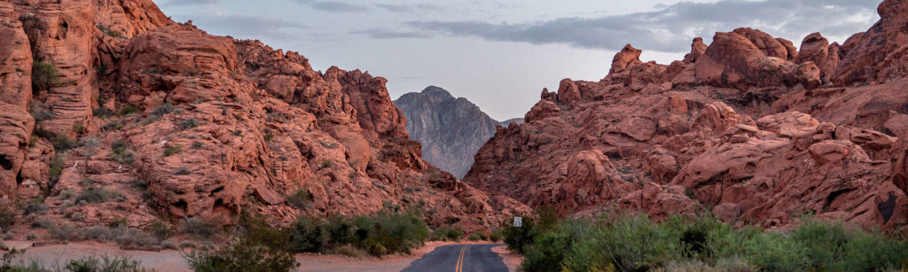 Road leading through the Valley of Fire State Park in Nevada