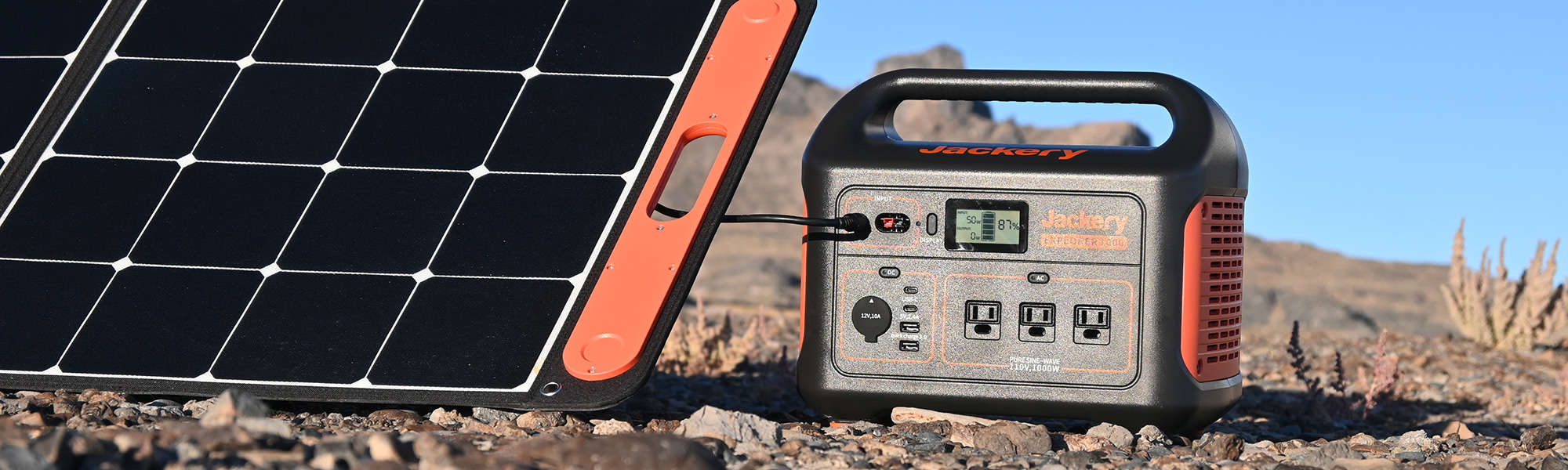 Jackery Explorer 1000 being charged by a SolarSaga 100W