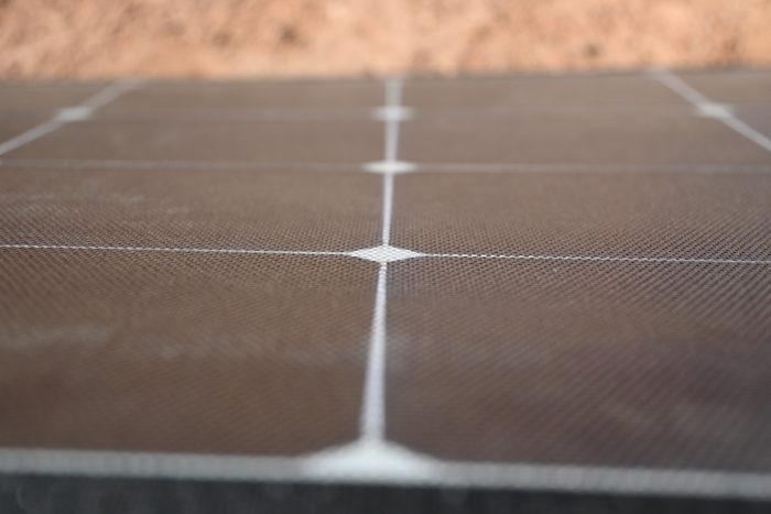 Close-up of the Jackery SolarSaga 100W solar panel