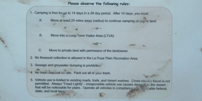 Rules for the free camping at Quartzsite Arizona.