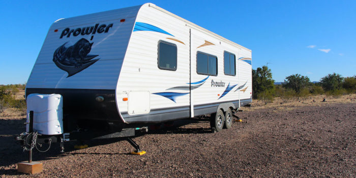 Flat ground that is easy for big rigs to camp on at Plomosa Road Quartzsite Arizona.