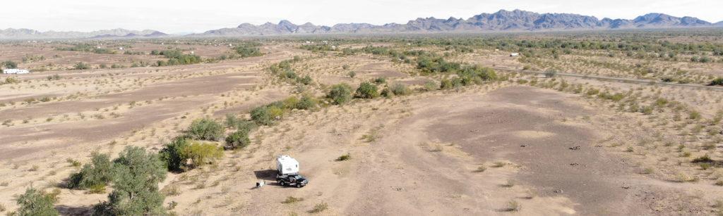 travel trailer camping at Plomosa Road in Quartzsite Arizona