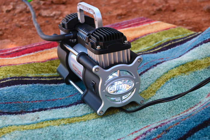 Flashlight and on/off switch on the Slime 2X Heavy Duty Tire Inflator.