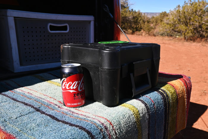 Slime 2X Heavy Dutry Tire Inflator box size comparison with a soda can.
