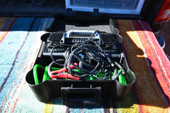 How everything fits in the included box of the Slime 2X Heavy Duty Tire Inflator.