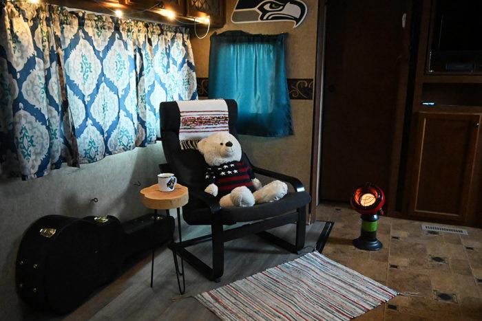 Mr. Heater Little Buddy Heater inside an RV