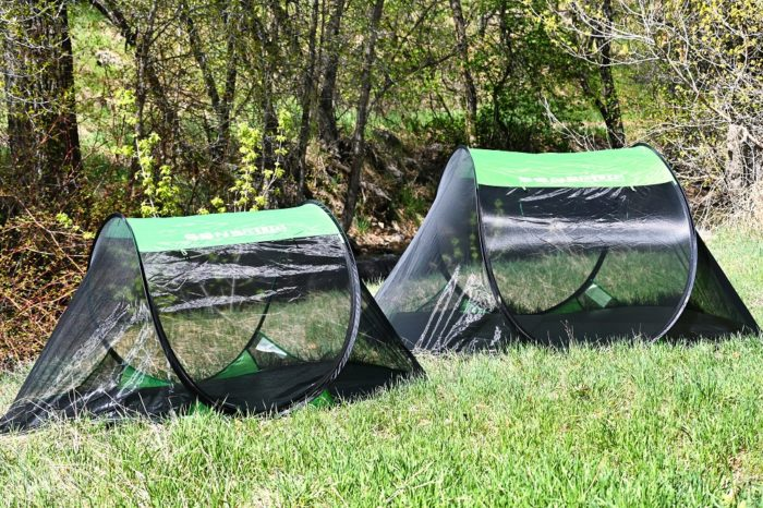 1 person and 3 person Sansbug popup screen tents together