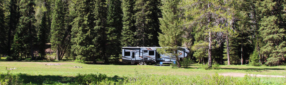 5th-wheel with rv slide out toppers sitting under trees in a forest