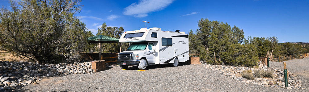 RV parked at campsite at Brown Springs Campground New Mexico