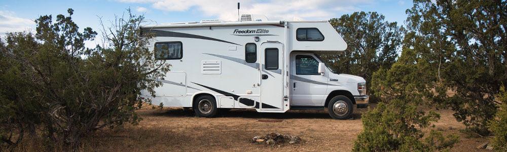 RV parked in the Caja Del Rio Dispersed Camping in Santa Fe New Mexico