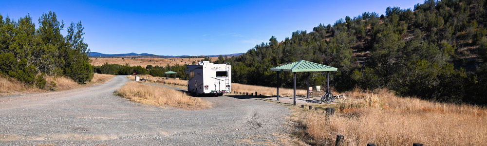 RV parked in campsite at cave canyon campground near fort stanton new mexico