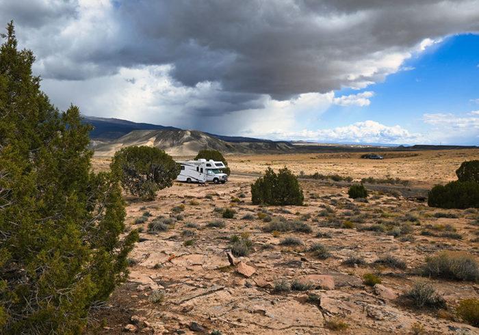 Class C RV camping at Escalante Canyon Road near Grand Junction Colorado