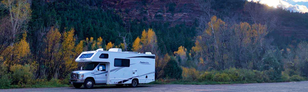 RV at free Caddis Flats Campground near Telluride Colorado