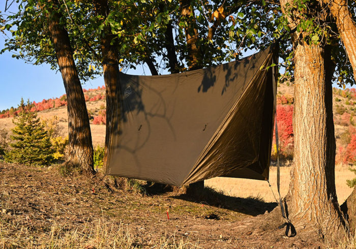 Onewind hammock rainfly being used as a tent for cold weather camping