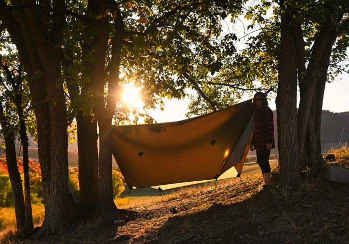 One Wind camping hammock and rainfly hanging between two trees